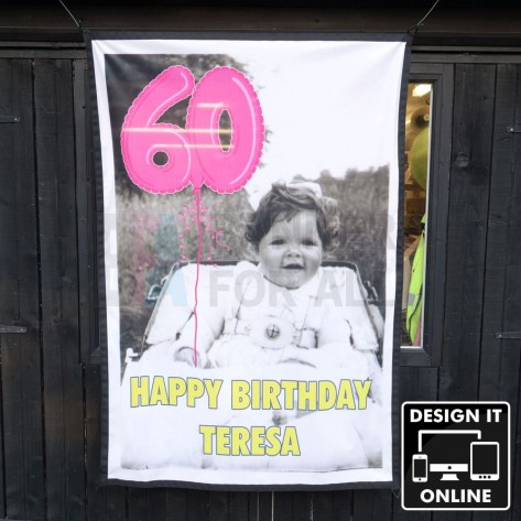 1.5m x 1m fabric birthday banner with coloured edge binding