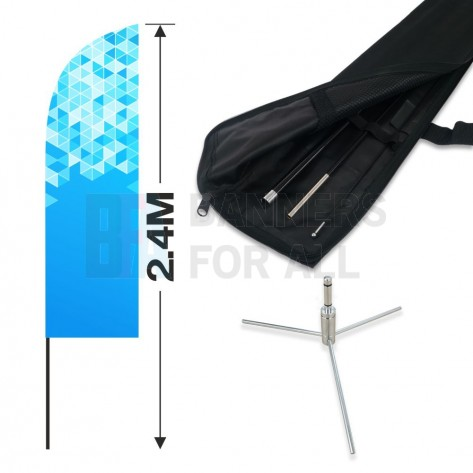 2.4m Feather Banner Kit with 1.8m Banner, 2.6m Push Fit Pole and Three Leg Cross Base