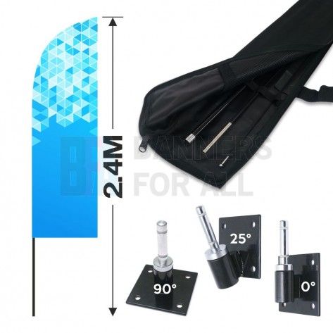 2.4m Feather Banner Kit with 1.8m Banner, 2.6m Push Fit Pole and Wall/Floor Bracket