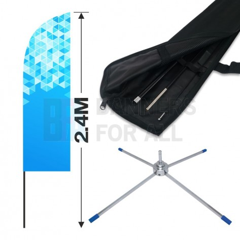 2.4m Feather Banner Kit with 1.8m Banner, 2.6m Push Fit Pole and Folding Cross Base
