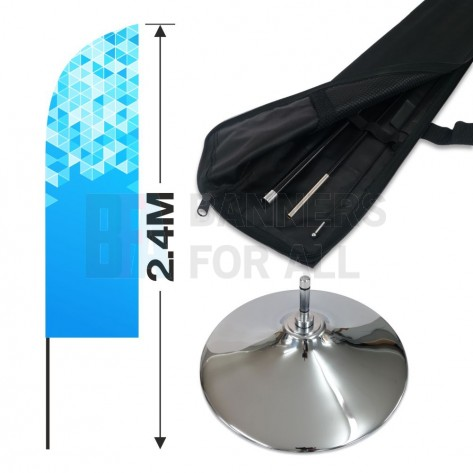 2.4m Feather Banner Kit with 1.8m Banner, 2.6m Push Fit Pole and Indoor Chrome Base