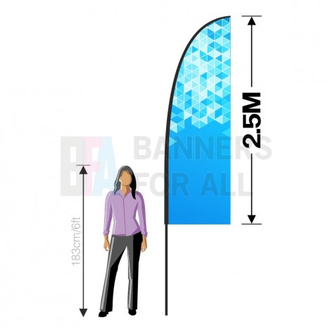 2.5m x 0.8m Feather Banner Replacement Graphic