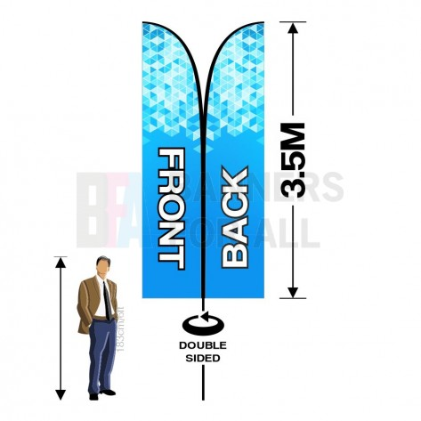3.5m x 0.8m Double Sided Feather Banner