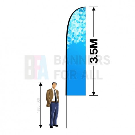 3.5m x 0.8m Feather Banner