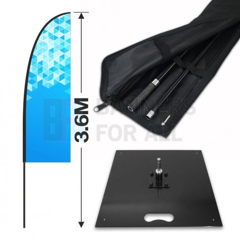 3.6m Feather Banner Kit with 2.5m Banner, 4m Push Fit Pole and 15kg Metal Base