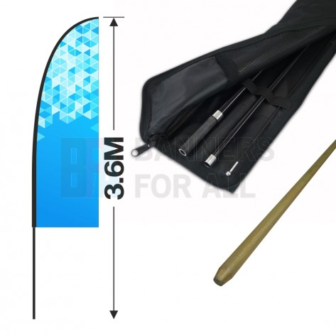 3.6m Feather Banner Kit with 2.5m Banner, 4m Push Fit Pole and Simple Ground Stake