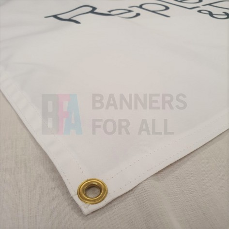 Cotton banner with double stitched hem