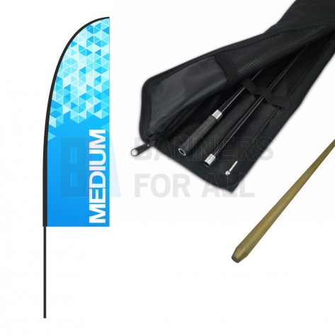 Medium Feather Banner with 4m Push Fit Pole and Simple Ground Stake