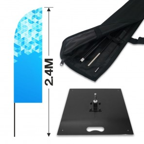 2.4m Feather Banner Kit with 1.8m Banner, 2.6m Push Fit Pole and 15kg Metal Base
