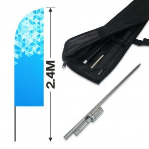 2.4m Feather Banner Kit with 1.8m Banner, 2.6m Push Fit Pole and Hammer In Ground Stake