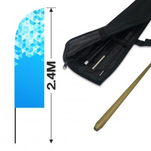 2.4m Feather Banner Kit with 1.8m Banner, 2.6m Push Fit Pole and Simple Ground Stake