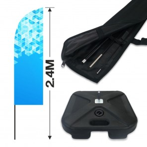 2.4m Feather Banner Kit with 1.8m Banner, 2.6m Push Fit Pole and 15KG Water Base