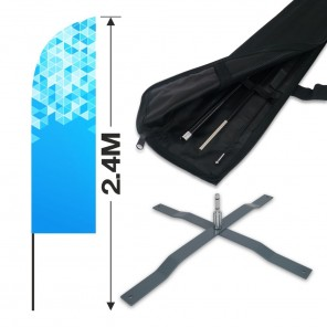 2.4m Feather Banner Kit with 1.8m Banner, 2.6m Push Fit Pole and Universal Cross Base