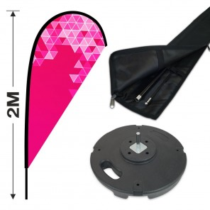 2m Teardrop Banner Kit with 1.8m Banner, 2.8m Push Fit Pole and 10KG Concrete Base