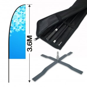 3.6m Feather Banner Kit with 2.5m Banner, 4m Push Fit Pole and Universal Cross Base