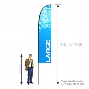 Large Feather Banner (LH) with 520cm Super Strong Pole