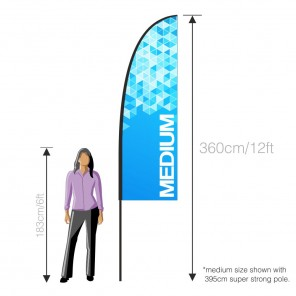 Medium Feather Banner with 4m Push Fit Pole and 10KG Concrete Base