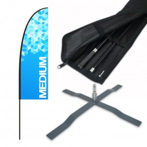 Medium Feather Banner with 4m Push Fit Pole and Universal Cross Base