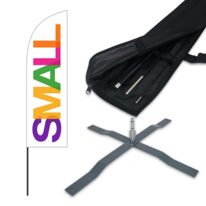 Small Feather Banner, 2.6m Push Fit Pole and Universal Cross Base