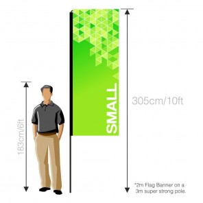Small double sided flag banner graphic (left)